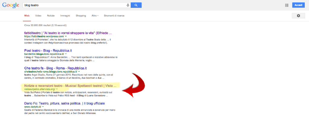 Posizionamento del mio blog Vista Sul Palco digitando su Google (senza login) la keyword 'blog teatro'. Prima pagina e 4 posizione _dati febbraio 2015